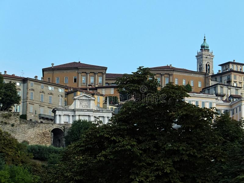 View of a section of Begamo's historical Citta Alta – Upper Town royalty free stock photography