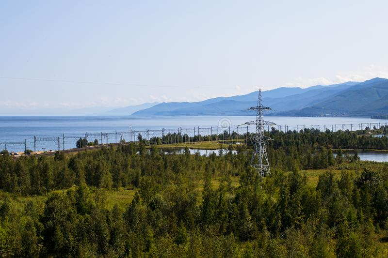View of the section of the Trans-Siberian Railway. Lake Baikal royalty free stock photography
