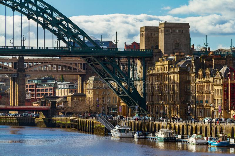View of a section of the Tyne Bridge and Newcastle Skyline. Newcastle, England - March 7, 2018: View of a section of the Tyne Bridge and Newcastle Skyline stock image