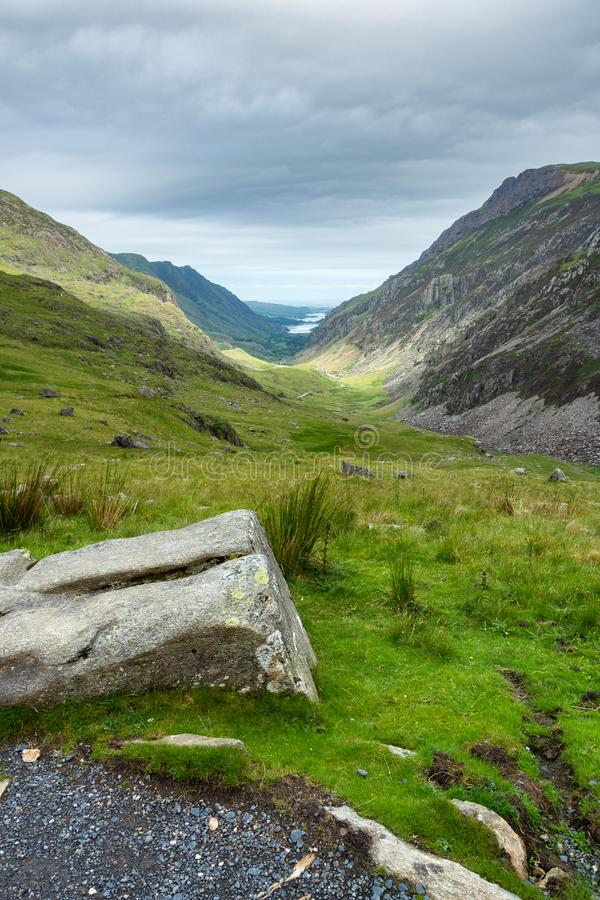 A view seen from the PYG track up to Snowdon mountain royalty free stock photography