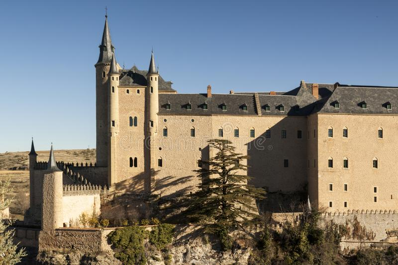 View of Segovia with gothic cathedral, alcazar, typical old houses, city wall. Pinnacles and tower. Segovia, Spain royalty free stock image
