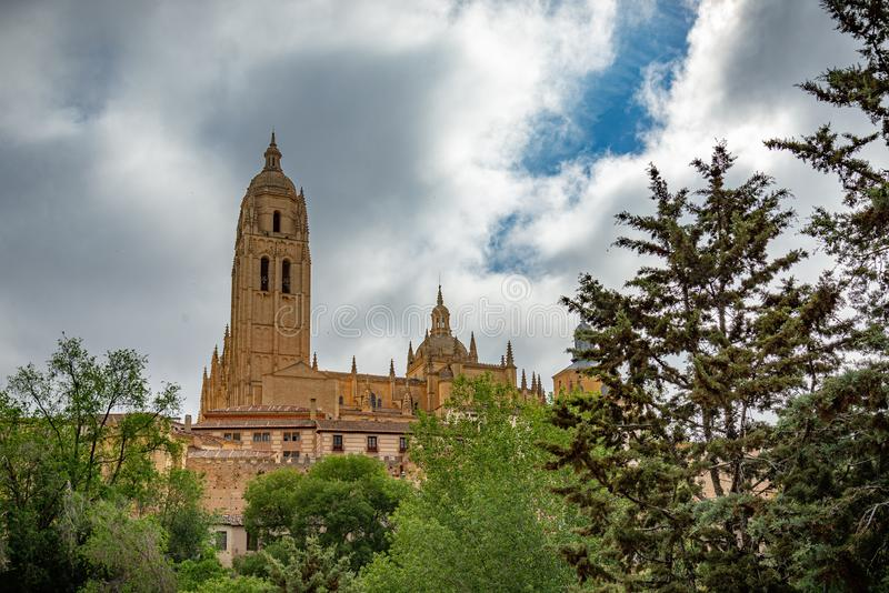 View of the center of Segovia, Spain. View of Segovia with gothic cathedral, typical ancient houses, city wall. Nights, pinnacles and tower. Segovia, Spain royalty free stock photos
