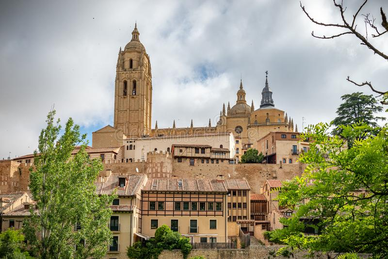 View of the center of Segovia, Spain. View of Segovia with gothic cathedral, typical ancient houses, city wall. Nights, pinnacles and tower. Segovia, Spain stock photography