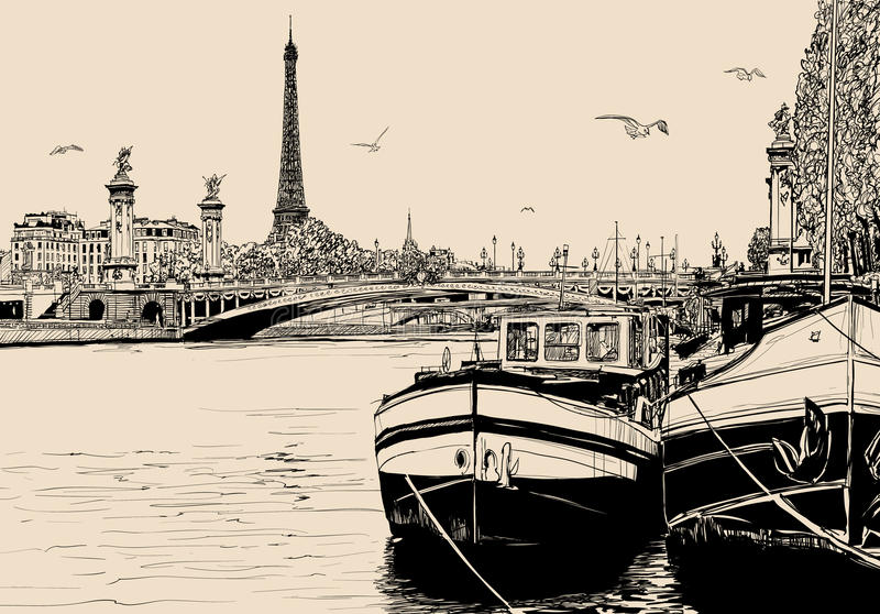 View of seine river in Paris with barges and eiffel tower. Vector illustration of a view of seine river in Paris with barges and eiffel tower royalty free illustration