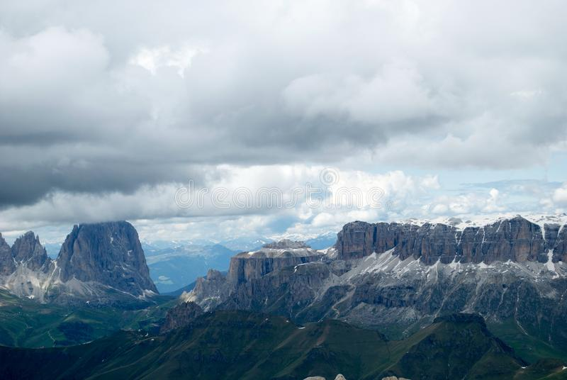 View of the Sella group, from 3000 meters of the Marmolada glacier, a cold autumn day royalty free stock images