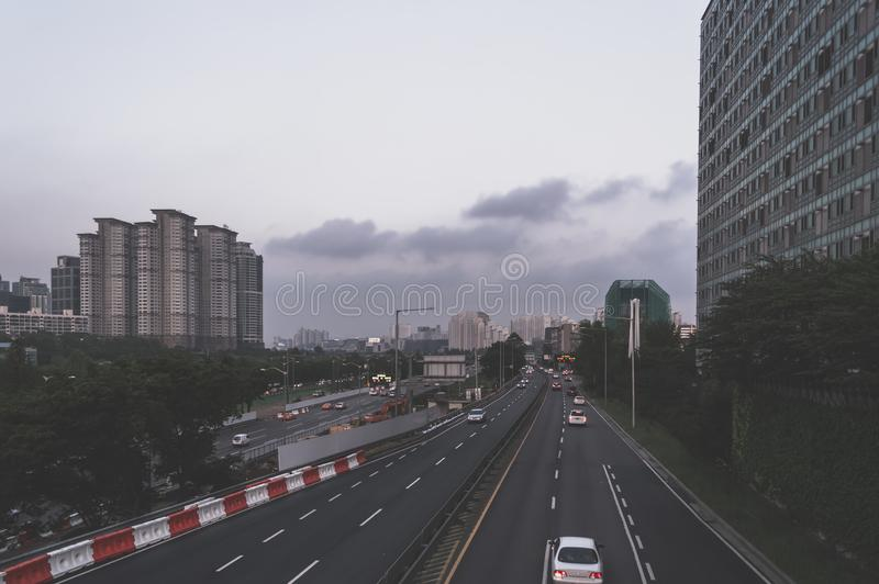 View on Seoul cityscape from Suetang Bridge in the evening stock photos