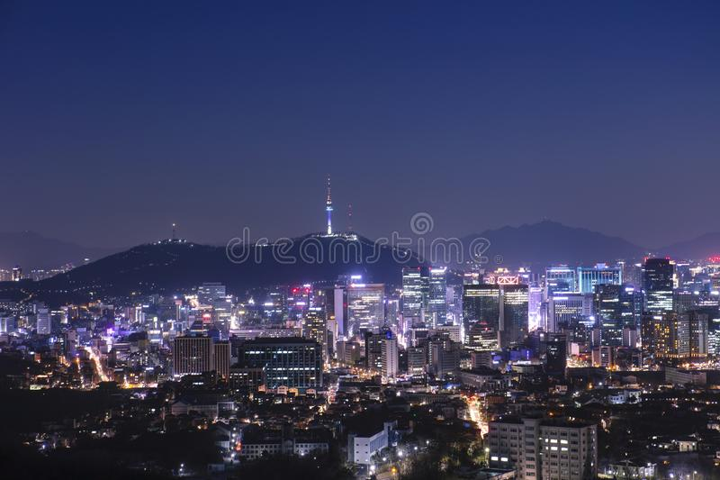 View of Seoul South Korea and namsan N Seoul Tower. At night stock photos