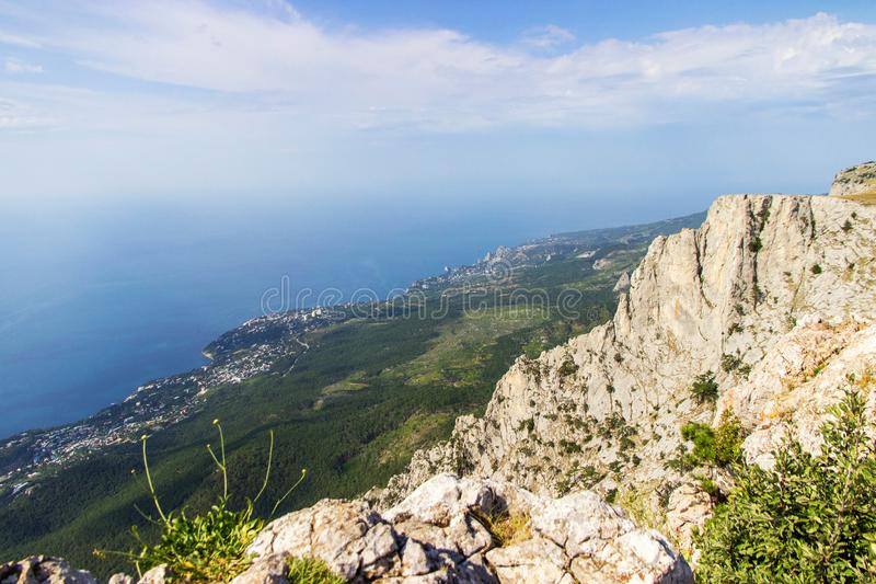 View series: Sea landscape with mountain, Crimea, Yalta royalty free stock photos