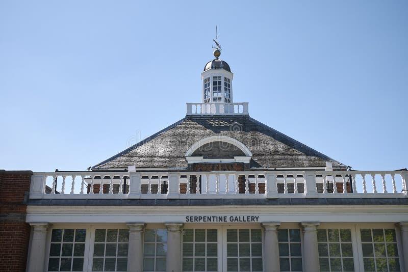 View of Serpentine Galleries. London, United Kingdom - June 26, 2018 : View of Serpentine Galleries in London stock image