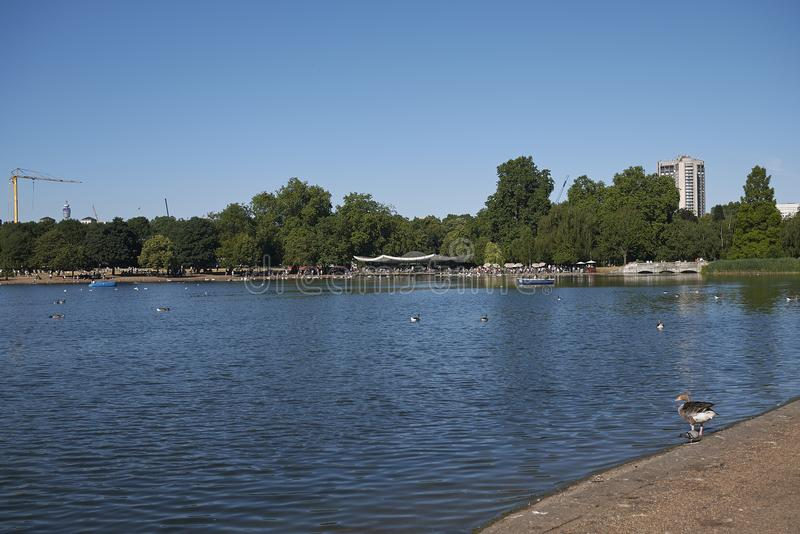 View of the Serpentine. London, United Kingdom - June 26, 2018 : View of the Serpentine in Hyde Park royalty free stock photography