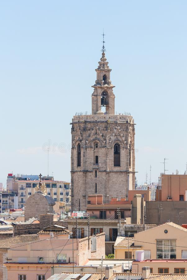 Micalet Tower in the Center of Valencia, Spain stock image