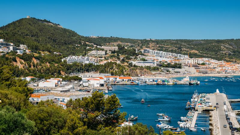 View of Sesimbra, Setubal Portugal on the Atlantic Coast.  royalty free stock images