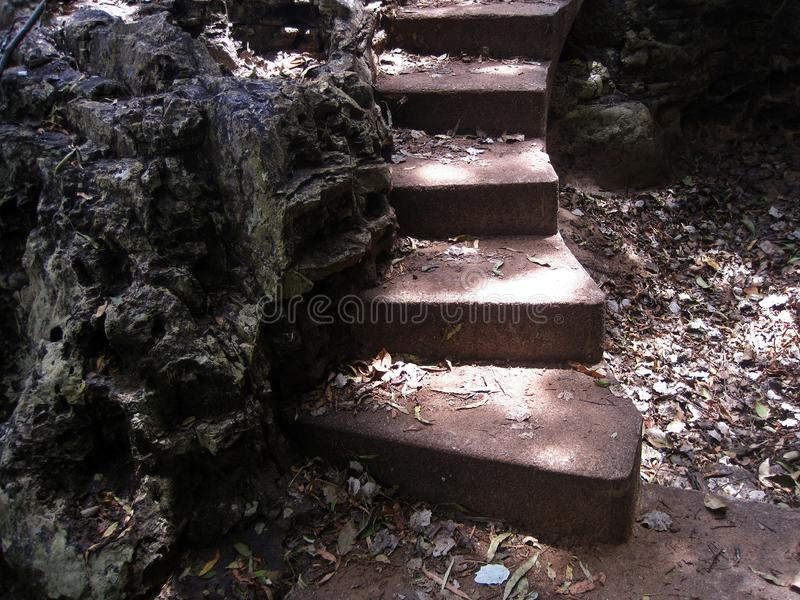 CONCRETE STEPS GIVING ACCESS TO HIGHER AREA. View of a set of concrete steps in the outdoors accessing higher ground stock image