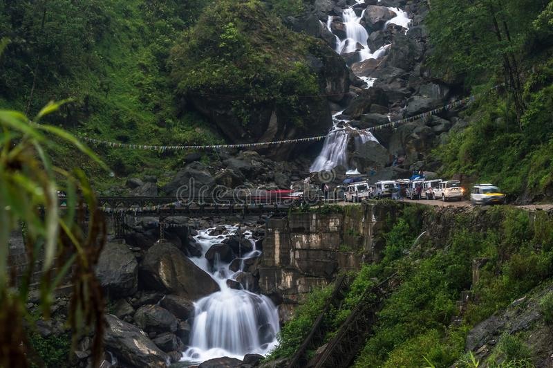 A view of the Seven Sister waterfall on the way to Lachen from Gangtok, Sikkim, India stock photo