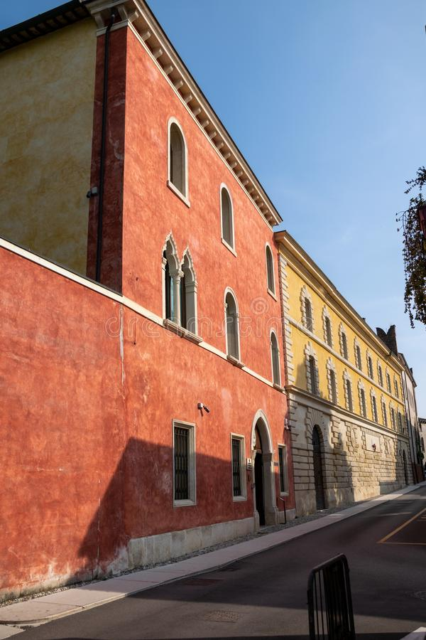 A view of the seventeenth century building Palazzo Moscardo along Via Camuzzoni royalty free stock photography