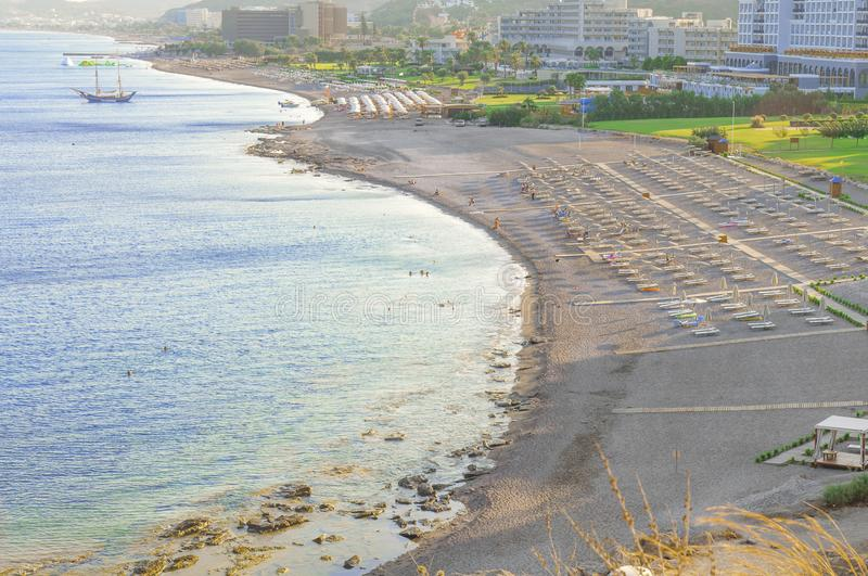 View of several hotel resort and beach from high point. With blue sea stock photo