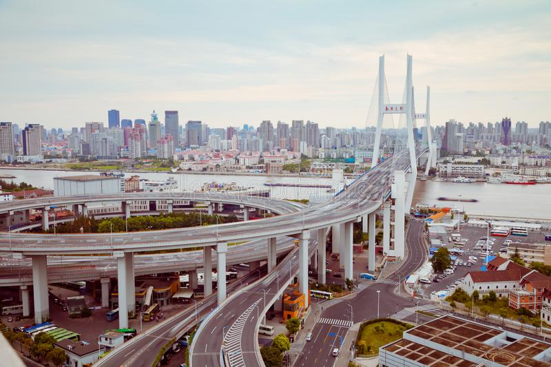 View of Shanghai Nanpu Bridge,Shanghai,China.view of Shanghai Nanpu Bridge,Shanghai,China royalty free stock photography