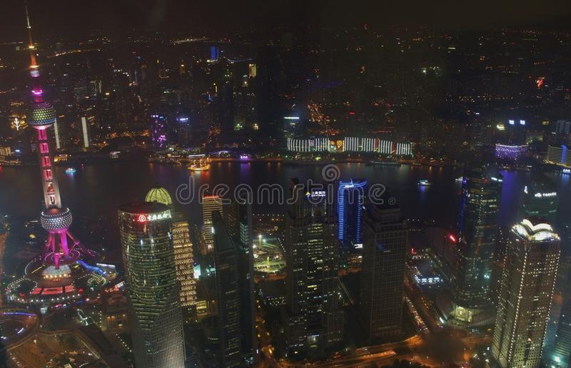 View from Shanghai World Financial Center. Shanghai World Financial Center, with its 492 meters is the second tallest building in mainland China stock photos