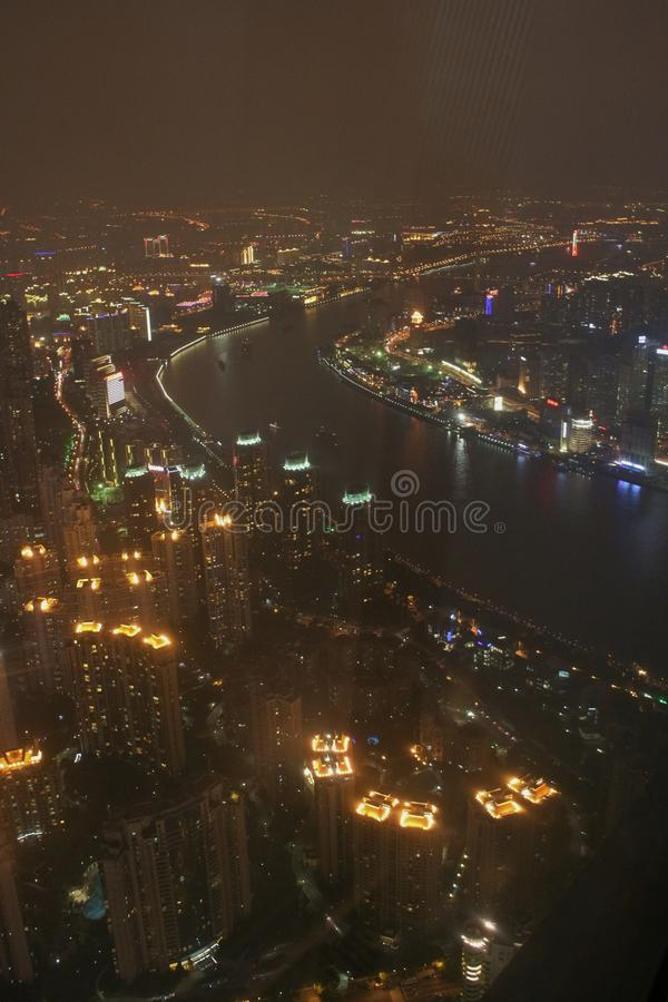 View from Shanghai World Financial Center. Shanghai World Financial Center, with its 492 meters is the second tallest building in mainland China royalty free stock photos