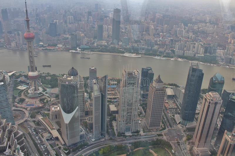 View from Shanghai World Financial Center. Shanghai World Financial Center, with its 492 meters is the second tallest building in mainland China royalty free stock photography