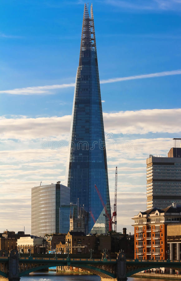 The view of Shard building at sunset, London, United Kingdom. stock photo
