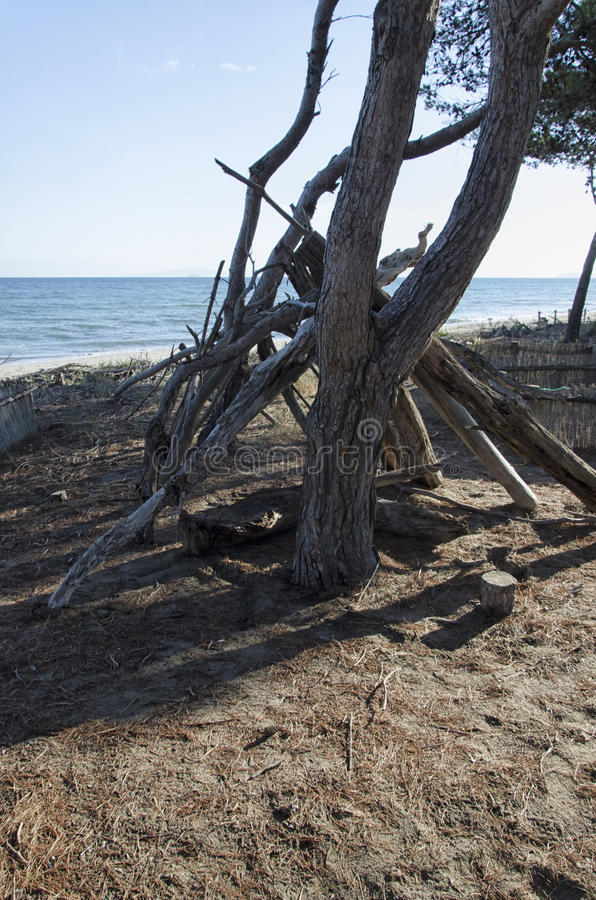 Shelter of a castaway. View of a shelter of a castaway stock photography