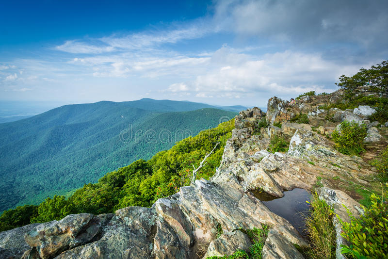View of the Shenandoah Valley and Blue Ridge from Hawksbill Summit, in Shenandoah National Park, Virginia. royalty free stock photo