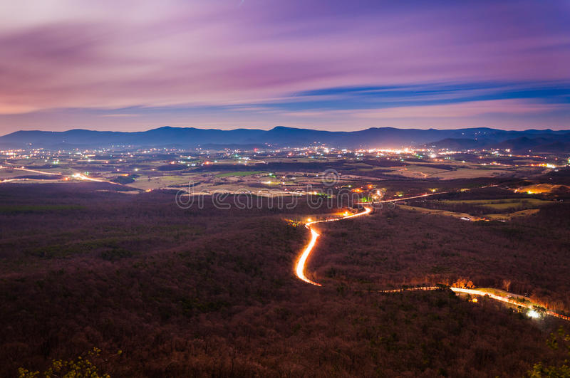 View of the Shenandoah Valley and Luray at night from Massanutten Mountain, in George Washington National Forest, Virginia stock photos