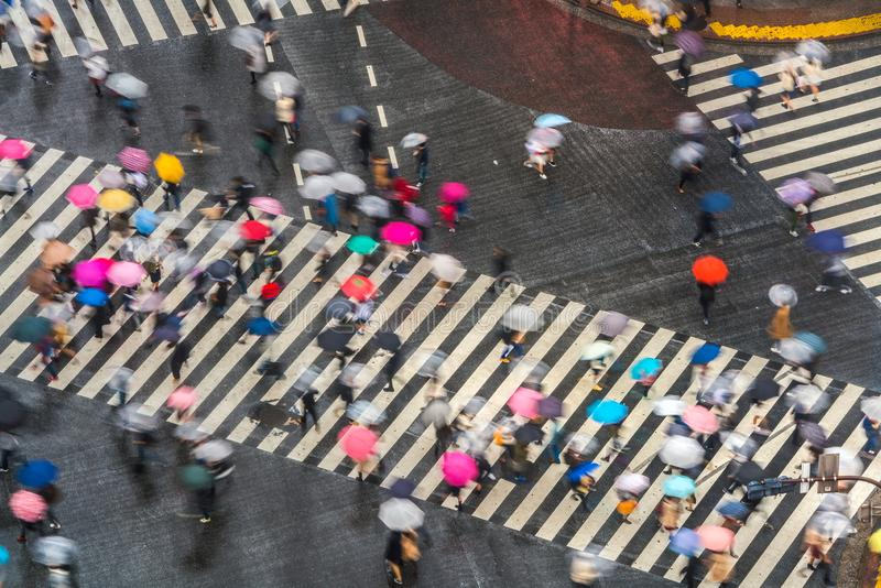 View of Shibuya Crossing, one of the busiest crosswalks in the world, Tokyo. Japan stock images