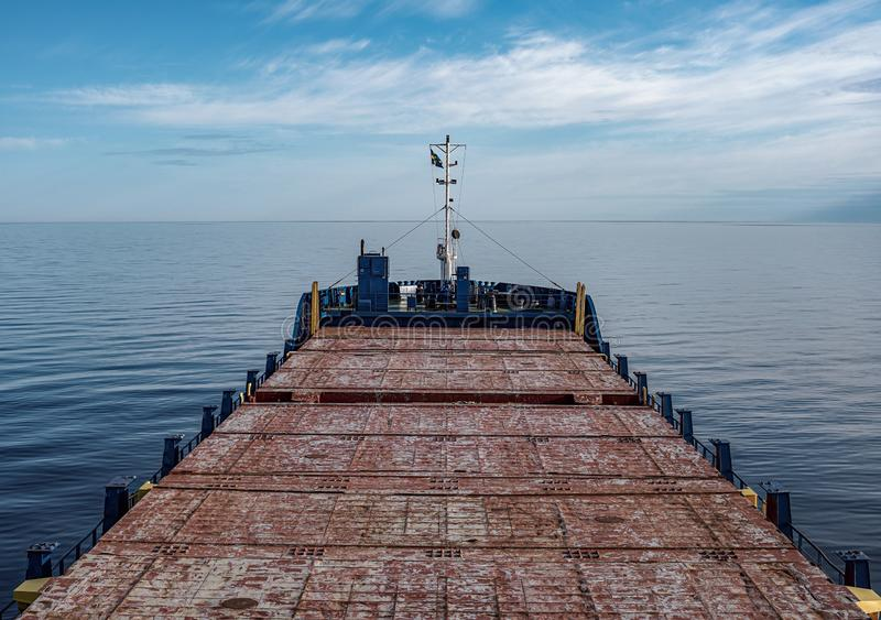 View of the ship from the bridge. Clear summer day. Ship at sea. Seascape royalty free stock images