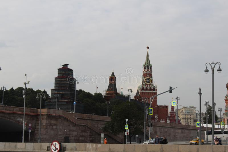 View from the ship to the red brick wall of the Moscow Kremlin with towers in the summer in Moscow. 2017 year royalty free stock photos