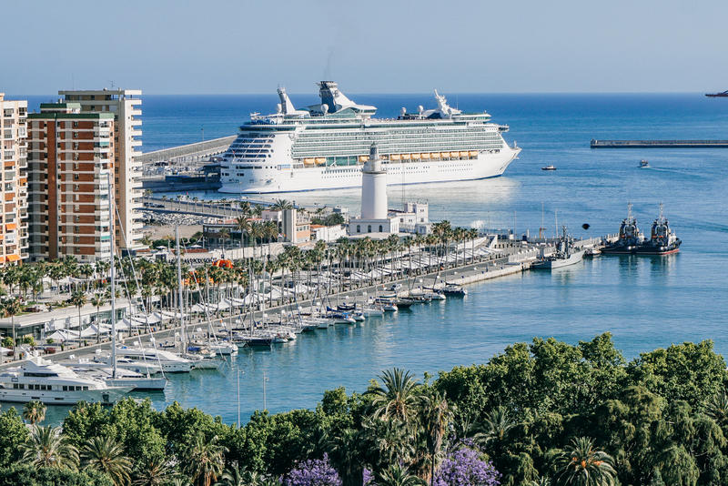 View of ships in harbor in Malaga, Spain, Europe royalty free stock photography