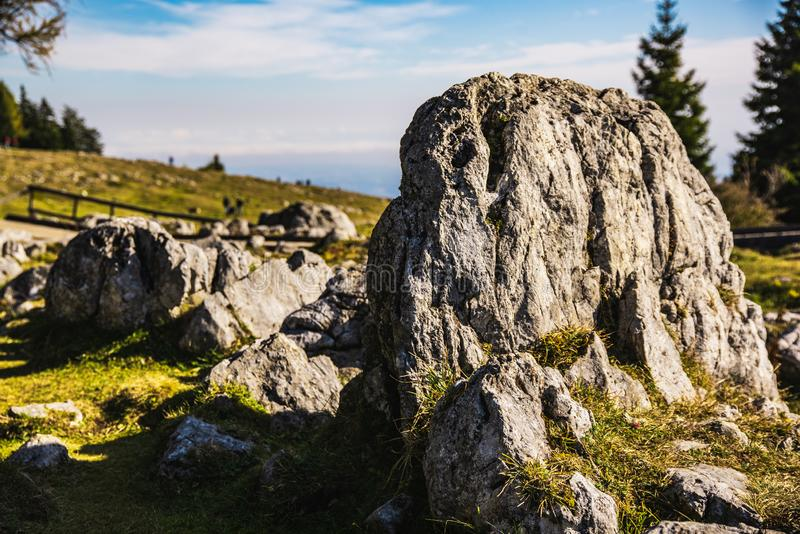 View from Shockl mountain in Graz. Tourist spot in Graz Styria. Places to see in Austria. Rocky ground Limestone bedrock royalty free stock photos
