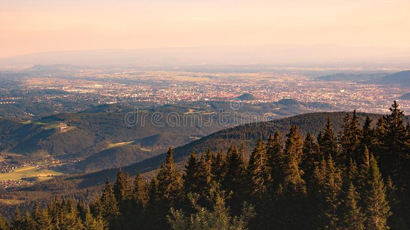 View from Shockl mountain in Graz. Tourist spot in Graz royalty free stock photos