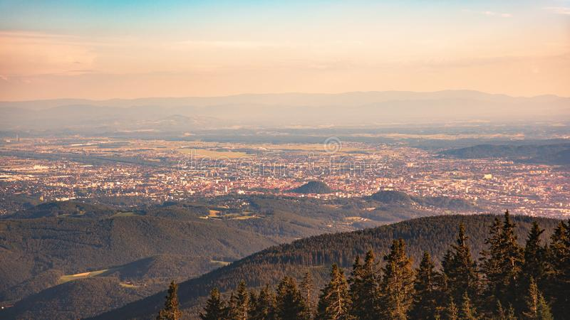 View from Shockl mountain in Graz. Tourist spot in Graz royalty free stock photography