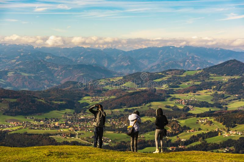 View from Shockl mountain in Graz. Tourist spot in Graz Styria. Places to see in Austria Tourists on the top royalty free stock images