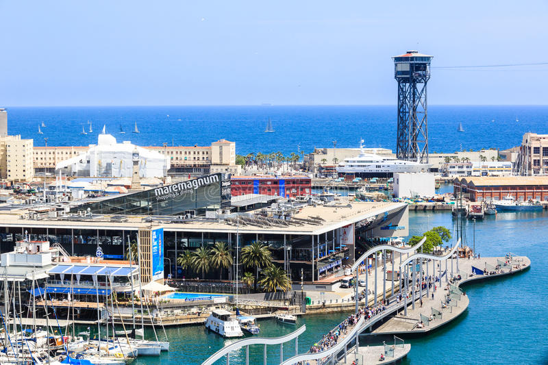 View of shopping center Maremagnum in the Port Vell de Barcelona, pedestrian bridge Rambla de Mar royalty free stock images