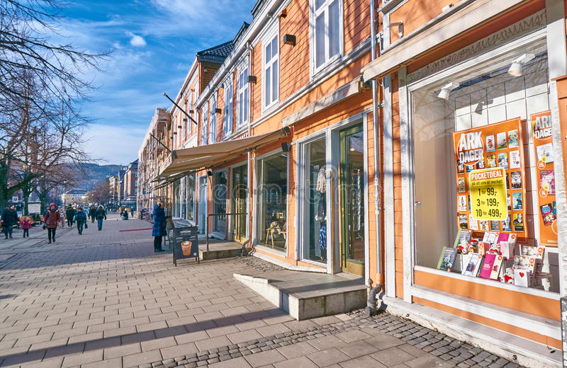 View shopping street in the center of Trondheim stock images