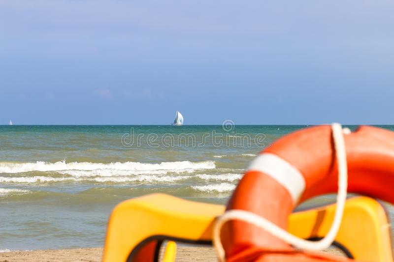 Vew from shore to sailing boats far to the sea, Italy, Riccione royalty free stock image