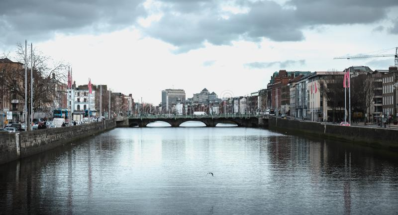 View of the shores of the river Liffey in Dublin, Ireland royalty free stock images