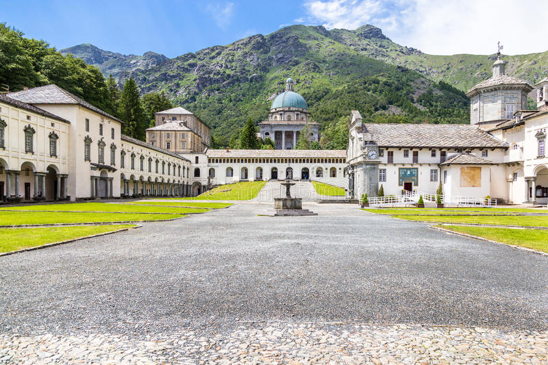 View of Shrine of Oropa, in the mountains of Biella, Piedmont It. View of beautiful Shrine of Oropa, It located in the mountains of Biella, Piedmont Italy stock photography