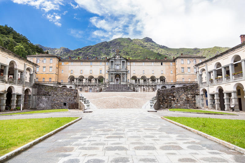 View of Shrine of Oropa, in the mountains of Biella, Piedmont It. View of beautiful Shrine of Oropa, It located in the mountains of Biella, Piedmont Italy royalty free stock images