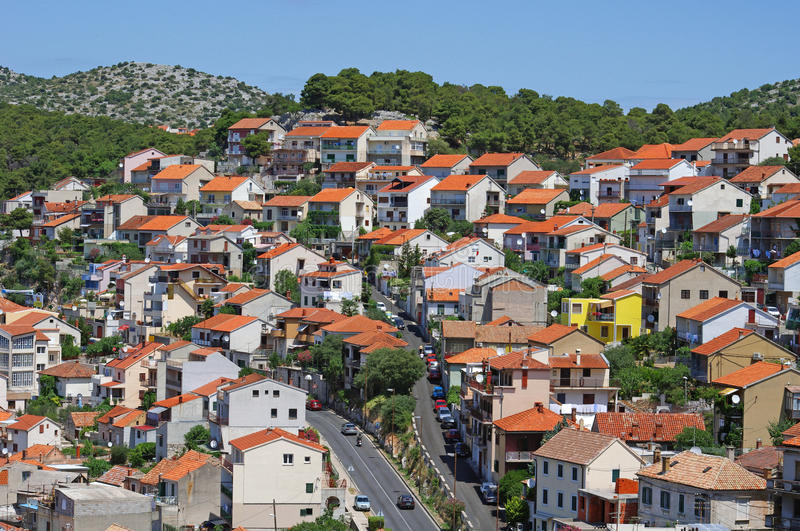 View at Sibenik in Croatia. In the day royalty free stock photo