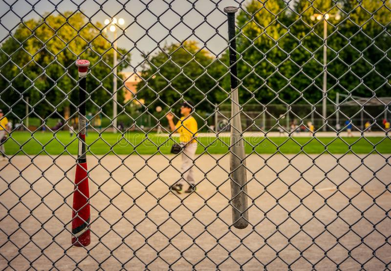 Unidentifiable youth league baseball players on diamond early evening baseball game, chain link fence in focus, background blurred. View from sidelines, at royalty free stock photography