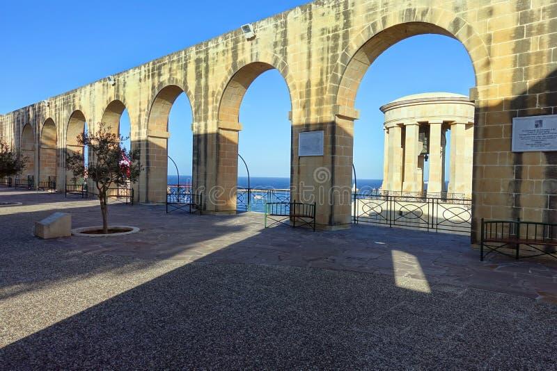 Siege Bell War Memorial Viewed from Promenade of Upper Barrakka Gardens stock photography