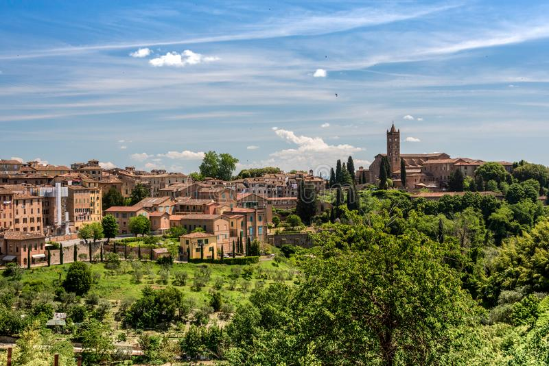 View of Siena with the Basilica of San Clemente royalty free stock image