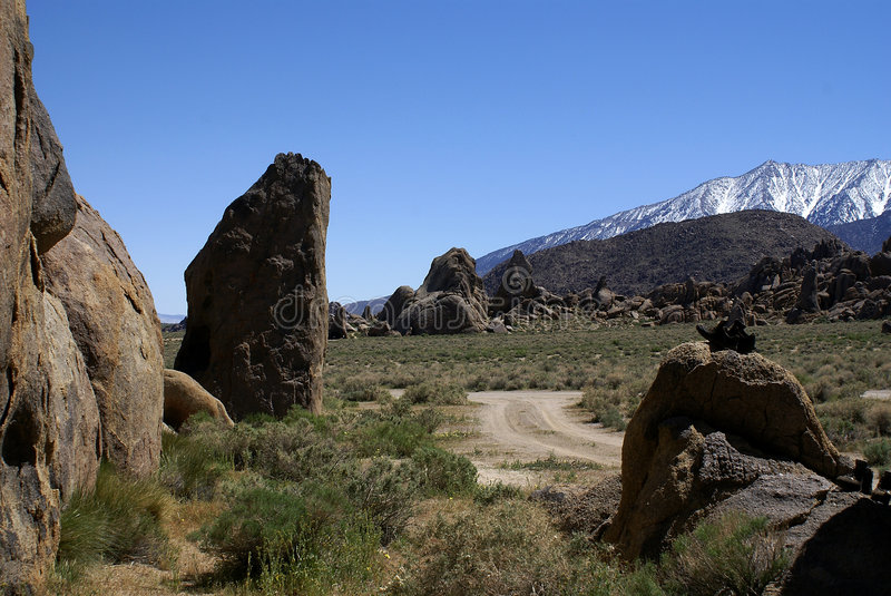 View on Sierra Nevada from Alabama Hills. Early spring stock photos