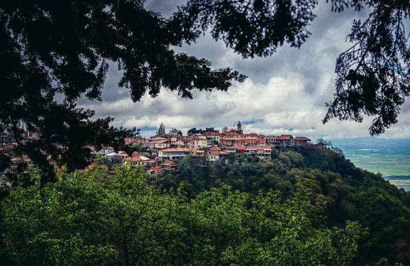 View on Sighnaghi. Sighnaghi, Georgia - April 24, 2015. Aerial view on buildings of Sighnaghi, small town in Kakheti district of Georgia royalty free stock image
