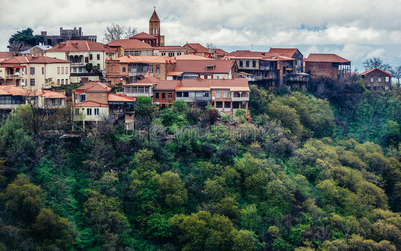 View on Sighnaghi. Sighnaghi, Georgia - April 24, 2015. Aerial view on buildings of Sighnaghi, small town in Kakheti district of Georgia stock image