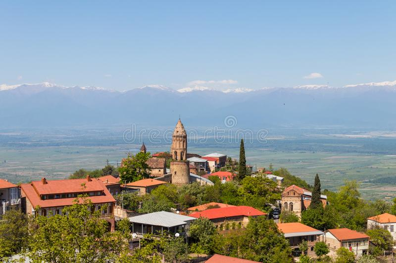 View on the Sighnaghi town and Caucasian mountains, Georgia. View on the Sighnaghi town and Caucasian mountains in Kakheti region, Georgia stock images